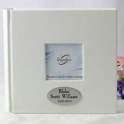 Baby White 100 Photo Album - Personalised - Add a Name & Message