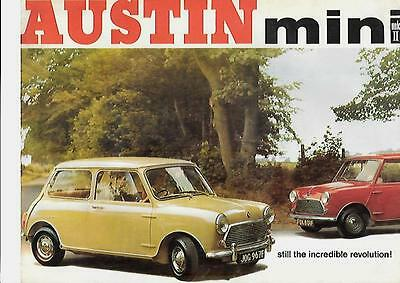 Austin Mini  Mkii Saloon And Super De-Luxe Saloon Car Brochure Oct.1967 For 1968