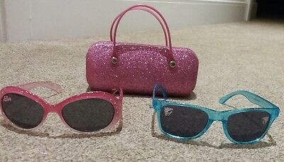 2 Pairs Girls Frozen Sunglasses with Sparkly Pink Case