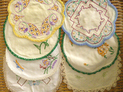 Lot Antique vintage doilies doiley linen hand made embroidered flowers crochet