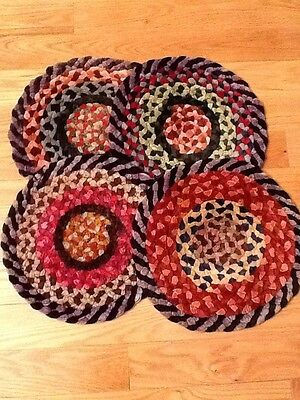 Vintage Set Of 4 Round Braided Chair Pads Multi Color