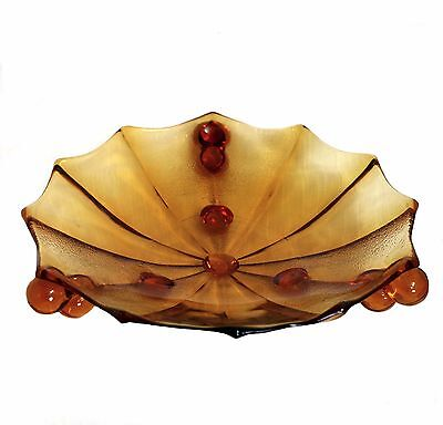 Vintage art deco depression amber glass large footed bowl 27cm across