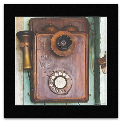 Vintage - Vintage Telephone on a Wall Matted Mini Po...