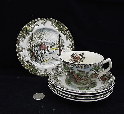 Friendly Village Tea Cup And Saucer  2  More Saucers Side Plate Trio