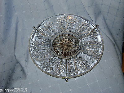 Federal Glass Feather Serving Dish Lazy Suzan Round Divided Platter Depression