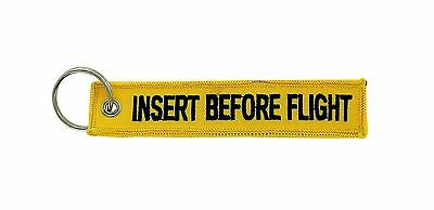 Insert after flight yellow keychain key ring tag luggage Remove before