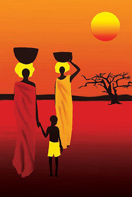 AFRICAN LADIES KENYA SUNSET POSTER (91x61cm)  PICTURE PRINT NEW ART