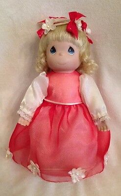 "1999 Precious Moments 8"" Blonde Girl Doll w/Stand July Birthday"