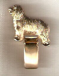 Bearded Collie Beardie Gold Plated Ring Clip Pin Jewelry