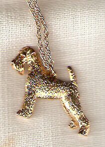 "Airedale Terrier Gold Plated Necklace Pendant 20"" Chain Jewelry"