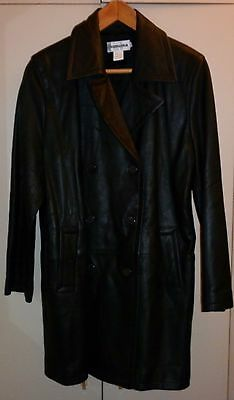 Vintage Simona  Black Leather  Trench Coat  Size 10 Excellent Condition