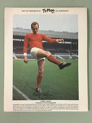 Rare 1960's Typhoo Tea A4 Size Signed Manchester Photo - Nobby Stiles - Superb