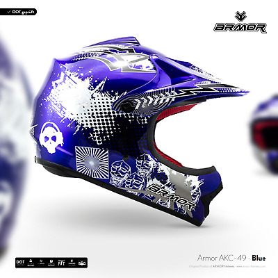 ARMOR  AKC-49 blue Cross-Helm Kinder-Helm Cross-Bike Enduro MX BMX - XS S M L XL