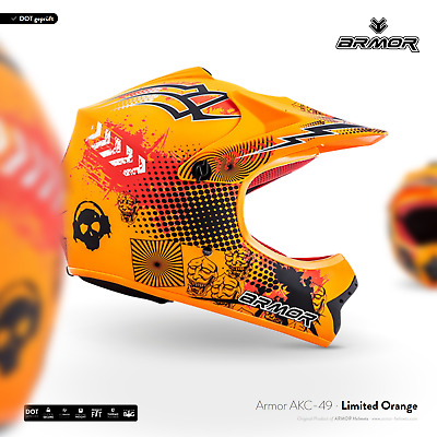 ARMOR AKC-49 Neon Orange Cross-Helm Kinder-Helm Kids Pocket-Bike MX XS S M L XL