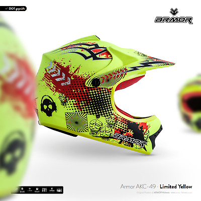ARMOR AKC-49 Neon Yellow Cross-Helm Kinder-Helm Kids Pocket-Bike MX XS S M L XL