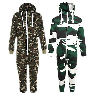 Kids Army Camo Print 1Onesie Hooded Jumpsuit All in One Boys Fleece Size 7-14yrs