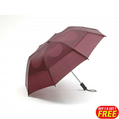 Burgundy Vented Folding Windproof Umbrella 1+1 Free Brolly (For Rain, Downpours)