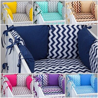 7 pcs COT / COT BED  BEDDING SET PILLOW BUMPER + FITTED SHEET CHEVRON PATTERN