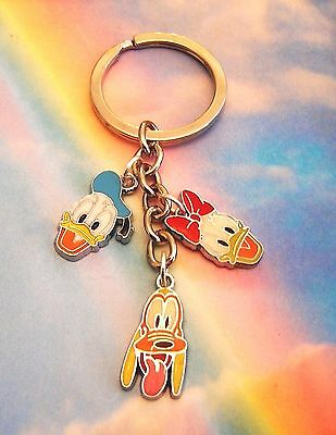 Donald And Daisy Duck Pluto Charms Keyring Handbag Charm Keychain In Gift Bag
