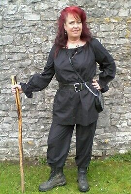 Ladies Top, pirate, gypsy, wench, LARP , Free size, Black.