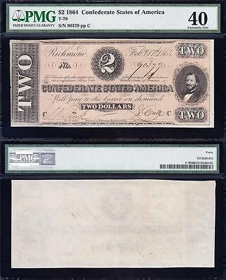 Awesome HIGH GRADE 1864 T-70 $2 CSA Confederate Note PMG 40! FREE SHIPPING 90379