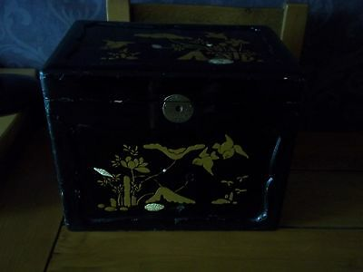 Vintage Japanese Ornate Hand Painted  Box With Decorative Inlays
