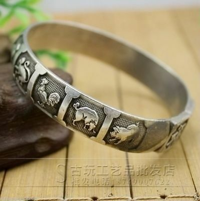 Chinese Antique carved Miao silver jewelry bracelet dragon and phoenix 寿