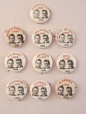 Lot of 10 Different States Like George Wallace/ Lemay Jugate Pinbacks