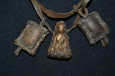 Old Tibetan Pendant Copper Buddha Armored leather Buddhism Amulet Pendant Buti.