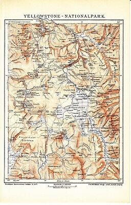 c. 1890 YELLOWSTONE NATIONAL PARK USA AMERICA Antique Map