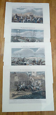"A Set of 4 J.Harris Engravings ""The First Steeple Chase""  by H.Alken 1839"