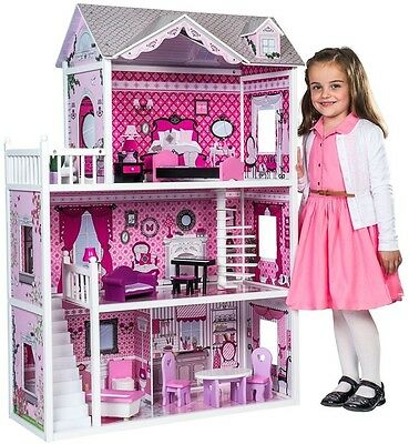 3 Storey Dolls House And Furniture Set Girls Kids Role Play Dolls House Ages 3+