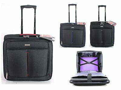 "15"" 17"" Inch Business Laptop Case Wheeled Trolley Travel Hand Luggage Bag Case"