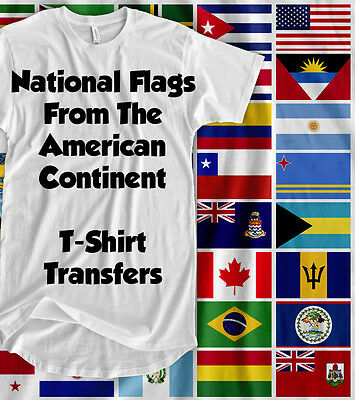 Flags In America & Caribbean - Iron On T-Shirt Transfer - [ a5 ]