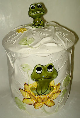 "11"" CERAMIC COOKIE JAR Neal the FROG on Lily Pad KITCHEN CANISTER Vintage Japan"