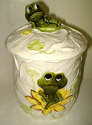 """9"""" CERAMIC COOKIE JAR Neal the FROG on a Lily Pad KITCHEN TEA CANISTER Japan VTG"""