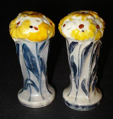 SALT & PEPPER TALL FLOWER BASKETS Czech Pottery ART NOUVEAU DECO Figural Ceramic