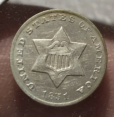 1851-O THREE CENT SILVER. Super Nice Collector Coin For Your Set Or Collection.