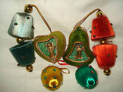 VTG Xmas Tree Ornament Lot 6 Satin Mercury Glass Bead Velvet Angel Diorama JAPAN
