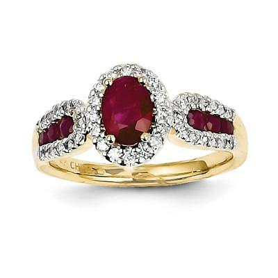 14k Yellow Gold Diamond & Ruby Ring Y11960R/AA Size 7