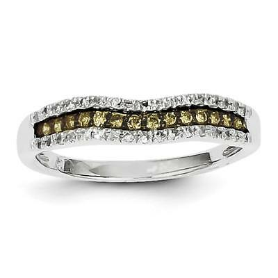 14k White Gold & Champagne Diamond Channel Ring Y11864AA Size 7