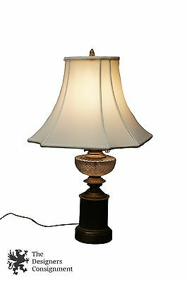 Hollywood Regency Style Brass + Glass Table Lamp White Shade Hurricane Light