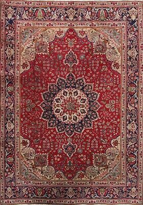 Antique Geometric Hand Knotted Red 8x11 Tabriz Persian Oriental Area Rug Carpet