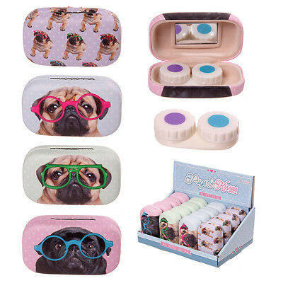 Pug Contact Lens Soaking Storage Case Mirrored Travel Holder Container Gift Idea