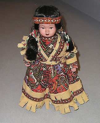 Vintage Native American Indian  Bisque Doll With Stand Collectible