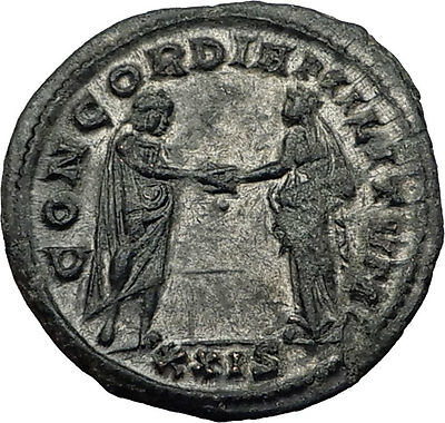 AURELIAN 274AD Rome Authentic Genuine Ancient Roman Coin  Marital harmony i59021