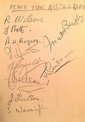 MATT BUSBY AND 9 OTHER RARE FOOTBALL AUTOGRAPHS SIGNED IN PENCIL c1945