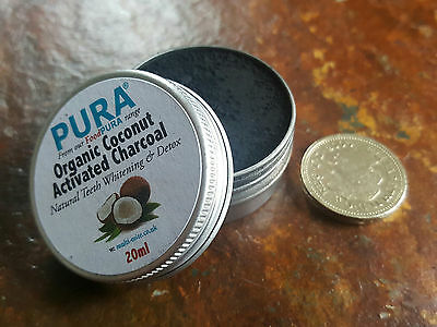 PURA® 20ML COCONUT Activated Charcoal  - Organic Teeth Whitening