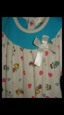 VTG 70s Snoopy 1pc Jumper 6-9m Lucy Sally Peanuts WoodStock Paw Prints Hearts