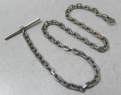 Antique Silver Plated Oblong Rolo Link Pocket Watch Fob Chain #80L